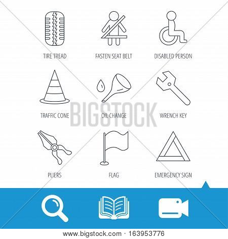 Tire tread, traffic cone and wrench key icons. Emergency triangle, flag and pliers linear signs. Disabled person icons. Video cam, book and magnifier search icons. Vector