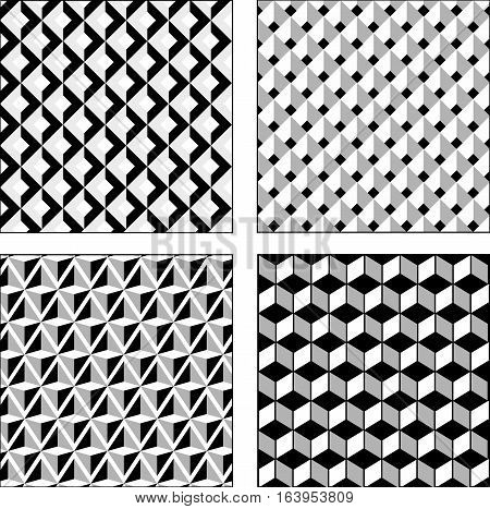 Vector set black and white optical illusions. Seamless texture. Surround Cube and rhombus