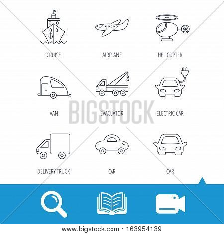 Transportation icons. Car, ship and truck linear signs. Airplane, helicopter and evacuator flat line icons. Video cam, book and magnifier search icons. Vector