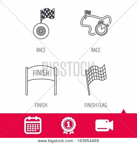 Achievement and video cam signs. Finish flag, race timer and wheel icons. Race track linear sign. Calendar icon. Vector