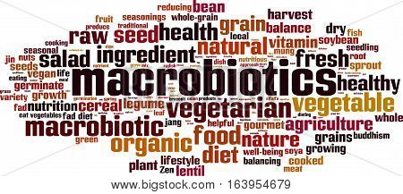 Macrobiotics word cloud concept. Vector illustration on white
