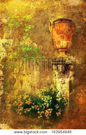 Vintage Style Picture Of An Antique Earthen Jug