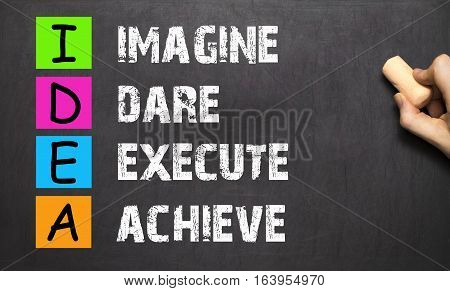 Hand Writing Idea - Imagine Dare Execute Achieve With White Chalk