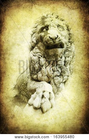 Antique Textured Picture Of Medici Lion, Florence