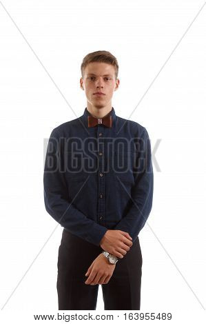 A man in a shirt with a wristwatch