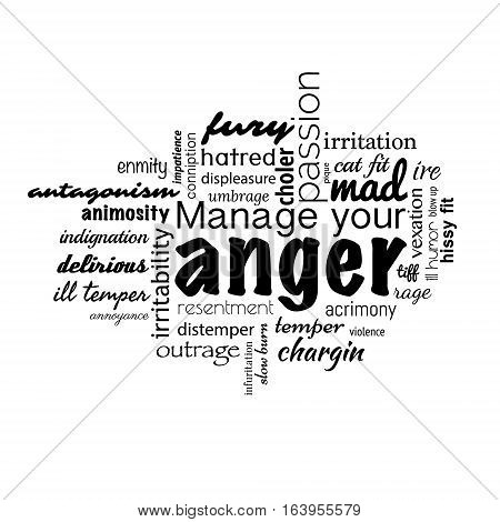 Anger management text banner made in vector
