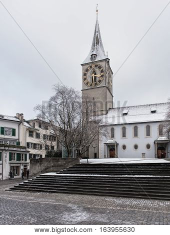 Zurich, Switzerland - 3 January, 2017: St. Peter Church, view from St. Peterhofstatt square. St. Peter is one of the four largest churches of the old town of Zurich.