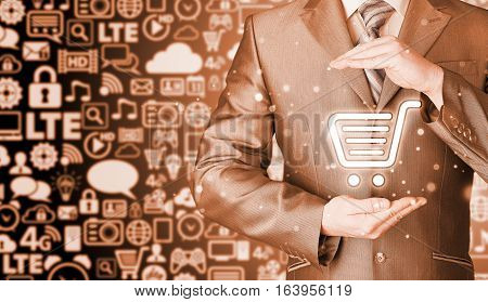Consumer protection concept. Safety and insurance of trade and goods. Online marketing. Icons background. Safe internet shopping.