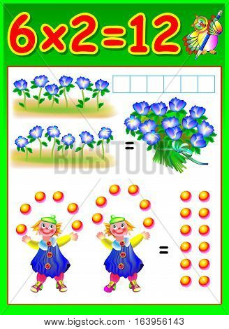 Educational page for children with multiplication. Vector image.