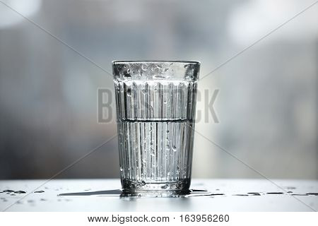 Half full half empty glass of water