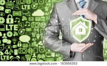 House protection and insurance. Home shield. Real estate safety. Icons background. Communication and Internet.
