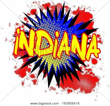 A comic cartoon style Indiana exclamation explosion over a white background
