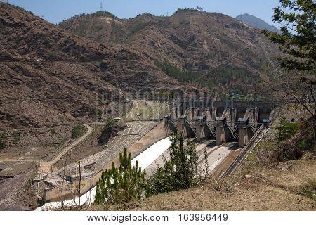 MANDI, INDIA. 4 Jun 2009:  Hydroelectric power station in the Himalayas. District Mandi, Himachal Pradesh, district of Kangra, India.