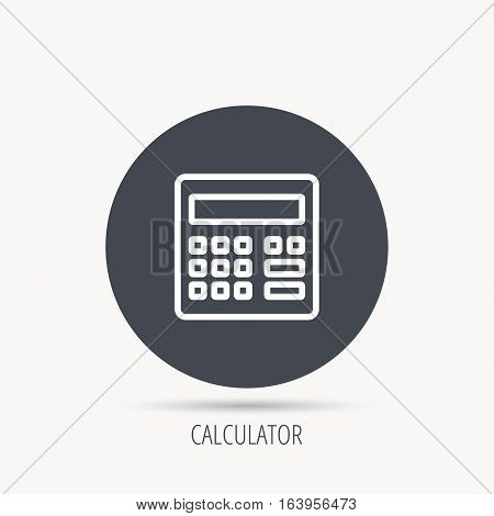 Calculator icon. Accounting sign. Balance calculation symbol. Round web button with flat icon. Vector