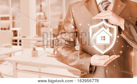 House protection and insurance. Home shield. Real estate safety. Office background.
