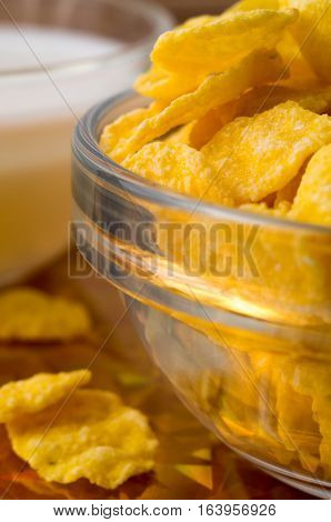 Defocused And Blurred Image Of Dry Corn Flakes