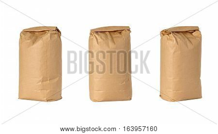 Brown Paper Bag Lunch with Copy Space Isolated on White Background.
