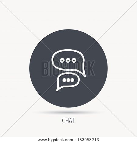 Chat icon. Comment message sign. Dialog speech bubble symbol. Round web button with flat icon. Vector