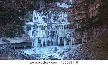 frozen Cascate Di Mezzo Di Vallesinella (waterfall Di Mezzo Di Vallesinella) I
