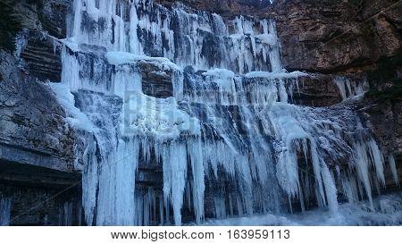 frozen Cascate Di Mezzo Di Vallesinella (waterfall Di Mezzo Di Vallesinella) II