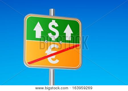 Dollar and euro symbol on the road sign 3D rendering