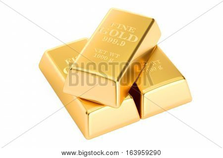 Gold bars 3D rendering isolated on white background