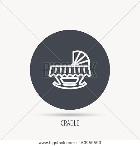 Baby cradle bed icon. Child crib sign. Newborn sleeping cot symbol. Round web button with flat icon. Vector