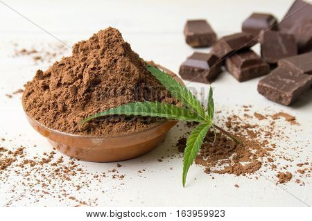 Cacao In A Bowl, Chocolate Pieces And Coffee