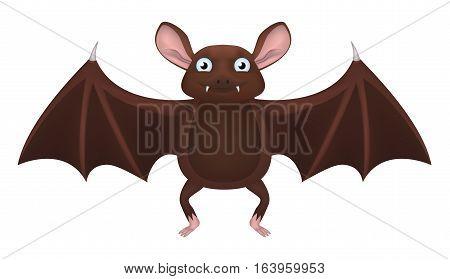 Cute fat brown bat with acute fangs.