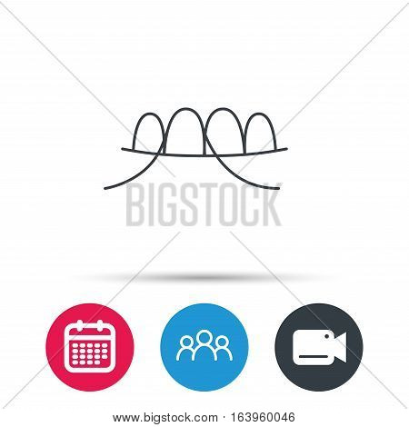 Dental floss icon. Teeth cleaning sign. Oral hygiene symbol. Group of people, video cam and calendar icons. Vector