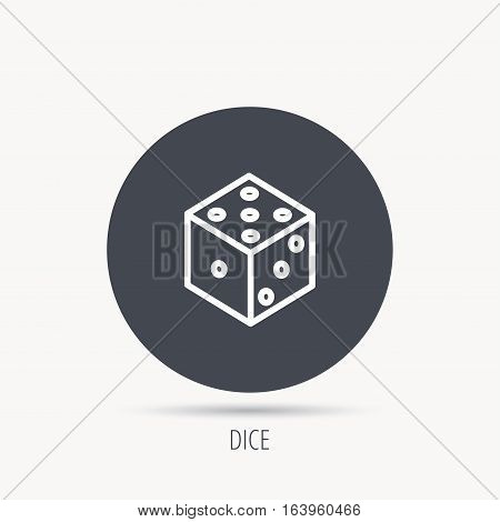 Dice icon. Casino gaming tool sign. Winner bet symbol. Round web button with flat icon. Vector