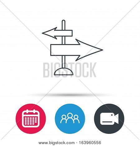 Direction arrows icon. Destination way sign. Travel guide symbol. Group of people, video cam and calendar icons. Vector