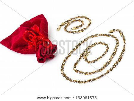 Gold jewelry on a white background. Studio Photo