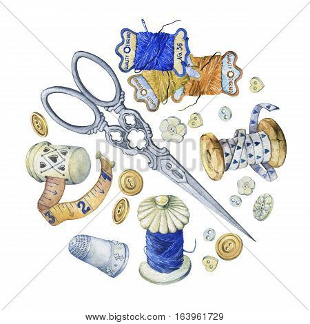Banner of various hand drawn vintage objects for sewing, handicraft and handmade. Hand drawn watercolor painting on white background