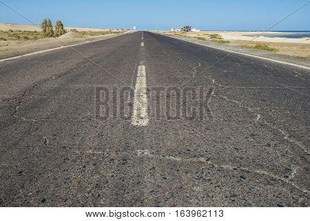 View Down A Remote Desert Road