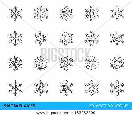 set of 20 vector line snowflakes, isolated on a white background - stock vector