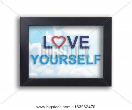 Love yourself in sky frame valentines banner