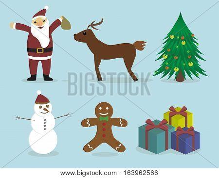New Year Set. Santa, Deer, Fir-tree, Biscuit, Snowman, Gift.