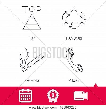 Achievement and video cam signs. Teamwork, smoking and phone call icons. Top linear sign. Calendar icon. Vector