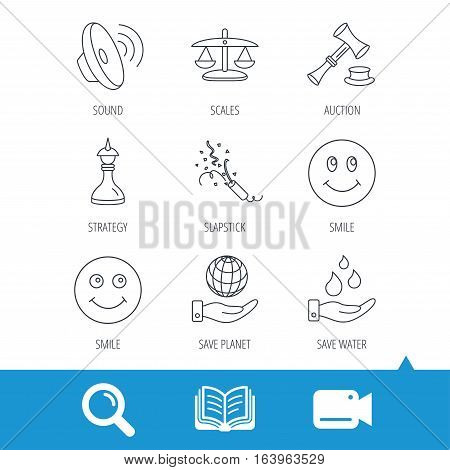 Scales of justice, auction hammer and strategy icons. Save planet and water linear signs. Smile, slapstick icons. Video cam, book and magnifier search icons. Vector