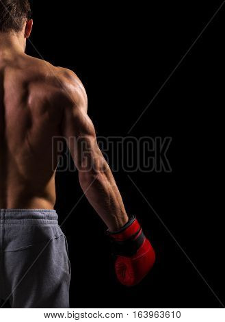 Strong muscular boxer in red boxing gloves. Isolated on black background