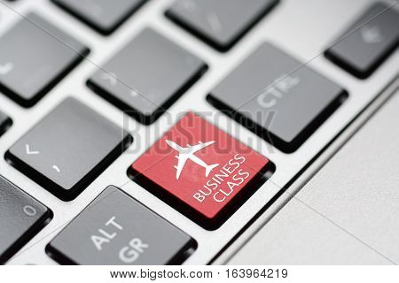 Business class flight ticket reservation keyboard button