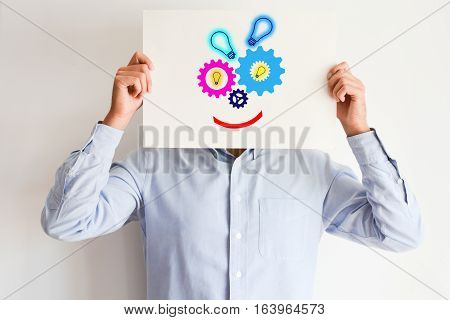 Creative mind concept spinning gears or wheels