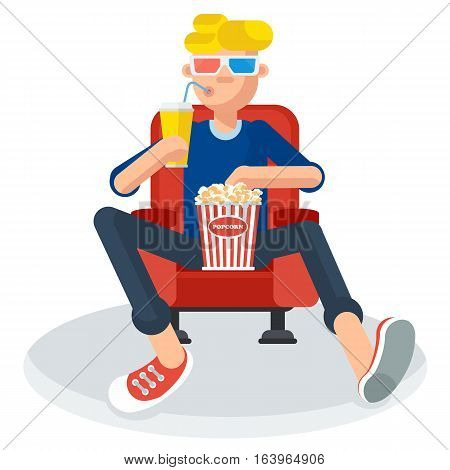 Young teen spectator in a movie theater watching film 3D movie glasses. It keeps holding popcorn and a soft drink. Flat vector cartoon illustration. Objects isolated on a white background.