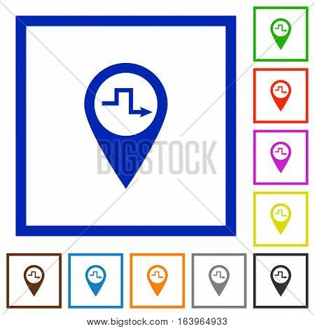 Route planning flat color icons in square frames on white background