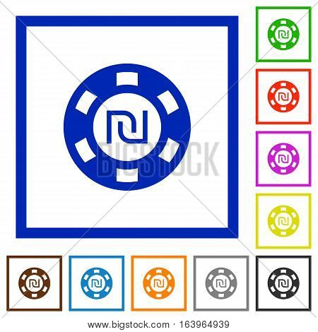 New Shekel casino chip flat color icons in square frames on white background