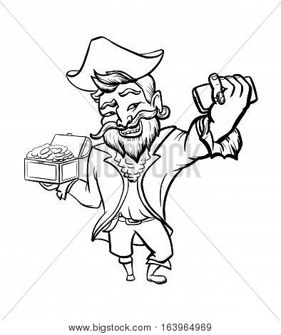 Smiling pirate taking selfie and holding treasures. Funny corsair with smartphone and chest full of golden coins. Cartoon character. Vector illustration