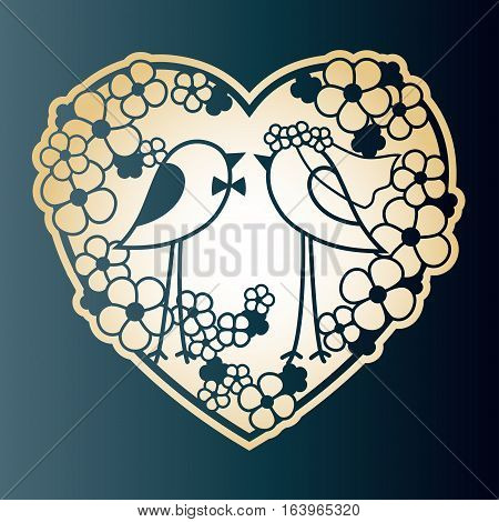 Wedding two birds among the flowers. Openwork heart wreath of flowers. Valentine's Day card vector design.