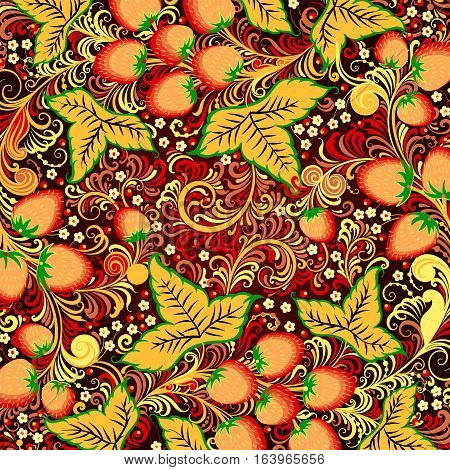 Decorative Background With Elements Of Traditional Russian National Painting In Khokhloma Style - Fl