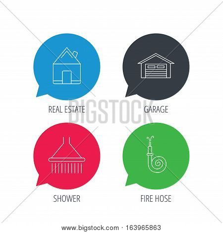 Colored speech bubbles. Real estate, garage and shower icons. Fire hose linear sign. Flat web buttons with linear icons. Vector